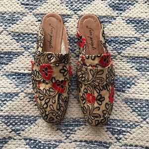 Free People Boho Floral Sequin Embroidered Mules